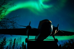 Northern Lights over the Yellowknife Bomber Monument