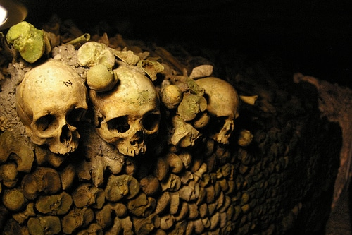 Skulls at the Parisian Catacombs