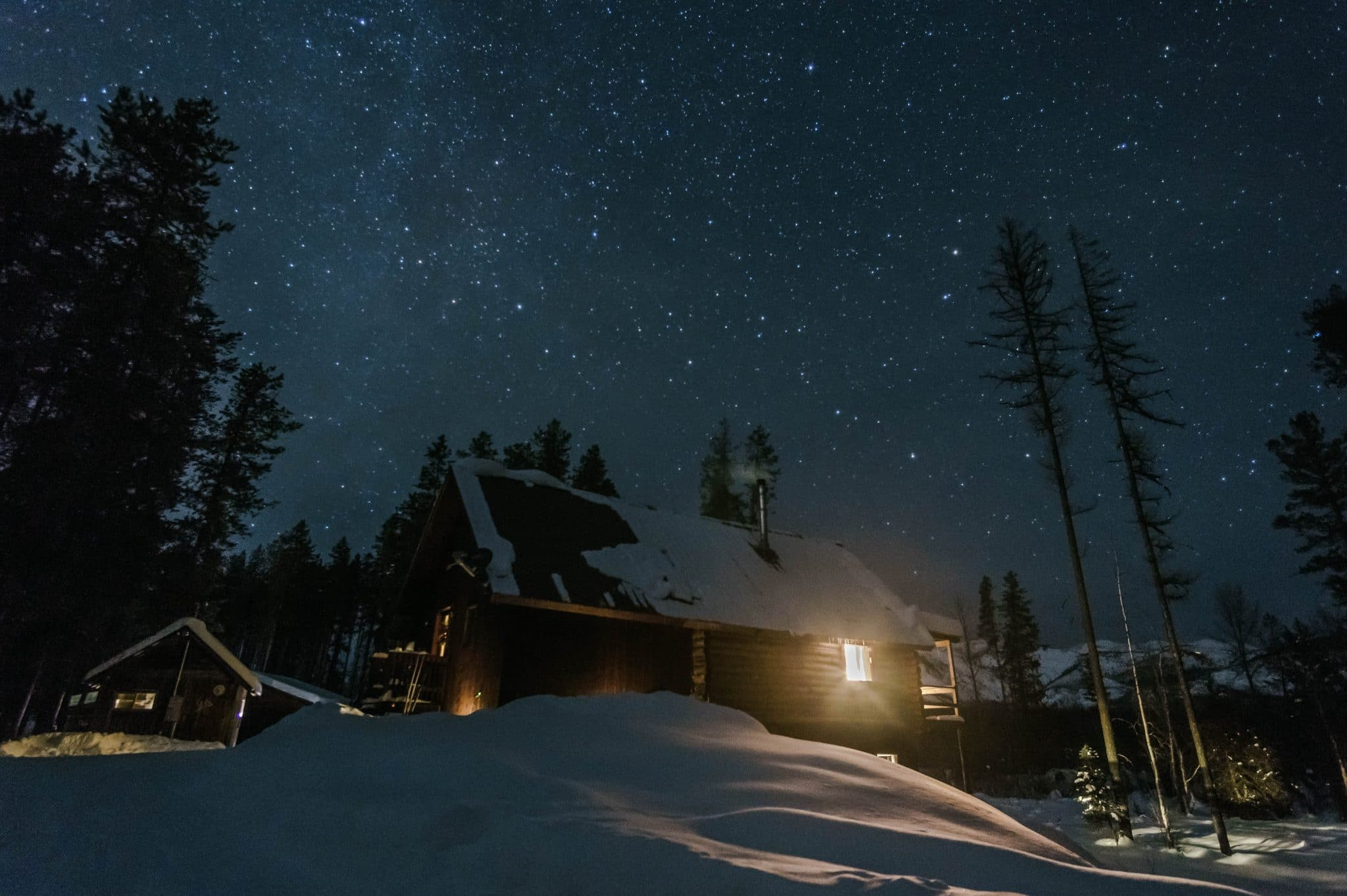 Cozy cabin under the stars outside of Whitefish, MT.