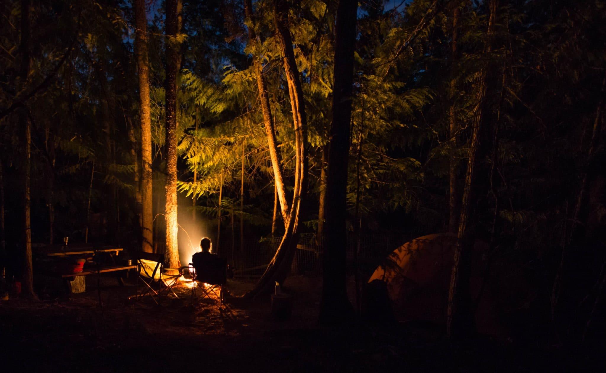Enjoying the campfire in Vernon, BC