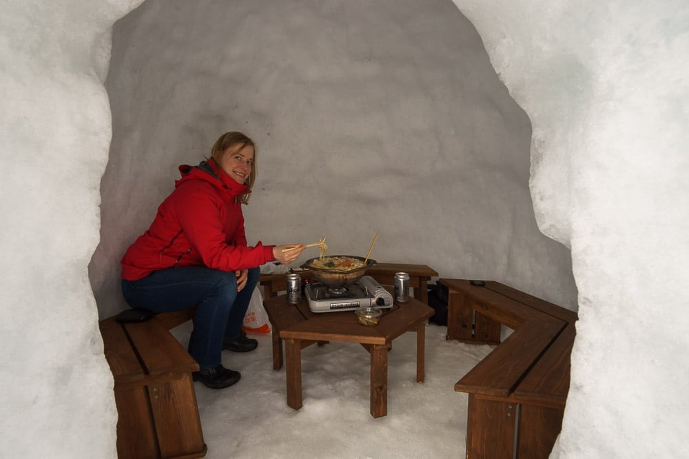 Japanese hot pot in a snow hut at Iyama, Japan