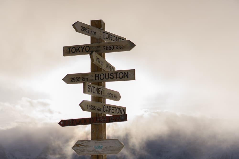 Travel sign - destinations around the world