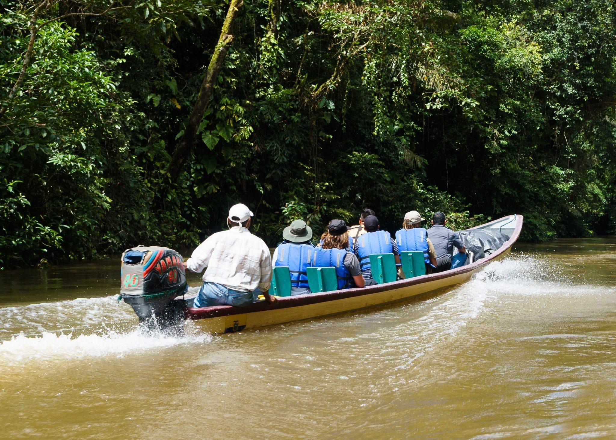 A boat touring the Cuyabeno River in Ecuador's Amazon