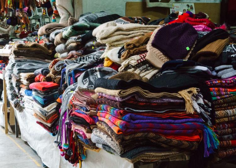 Knitted goods at the Huaraz Artisan Market