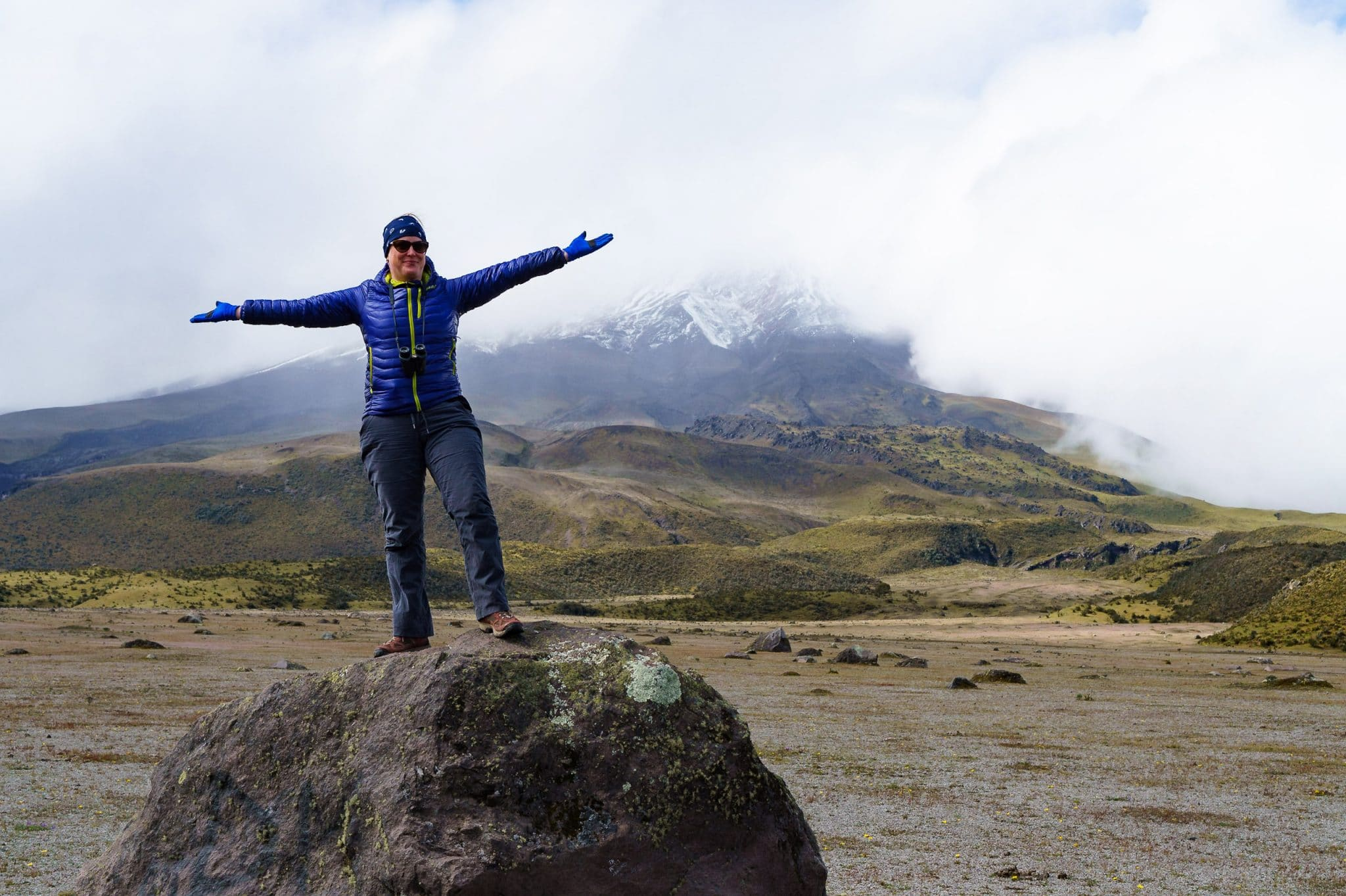 Thea wearing her Marmot Jacket Hiking at Cotopaxi