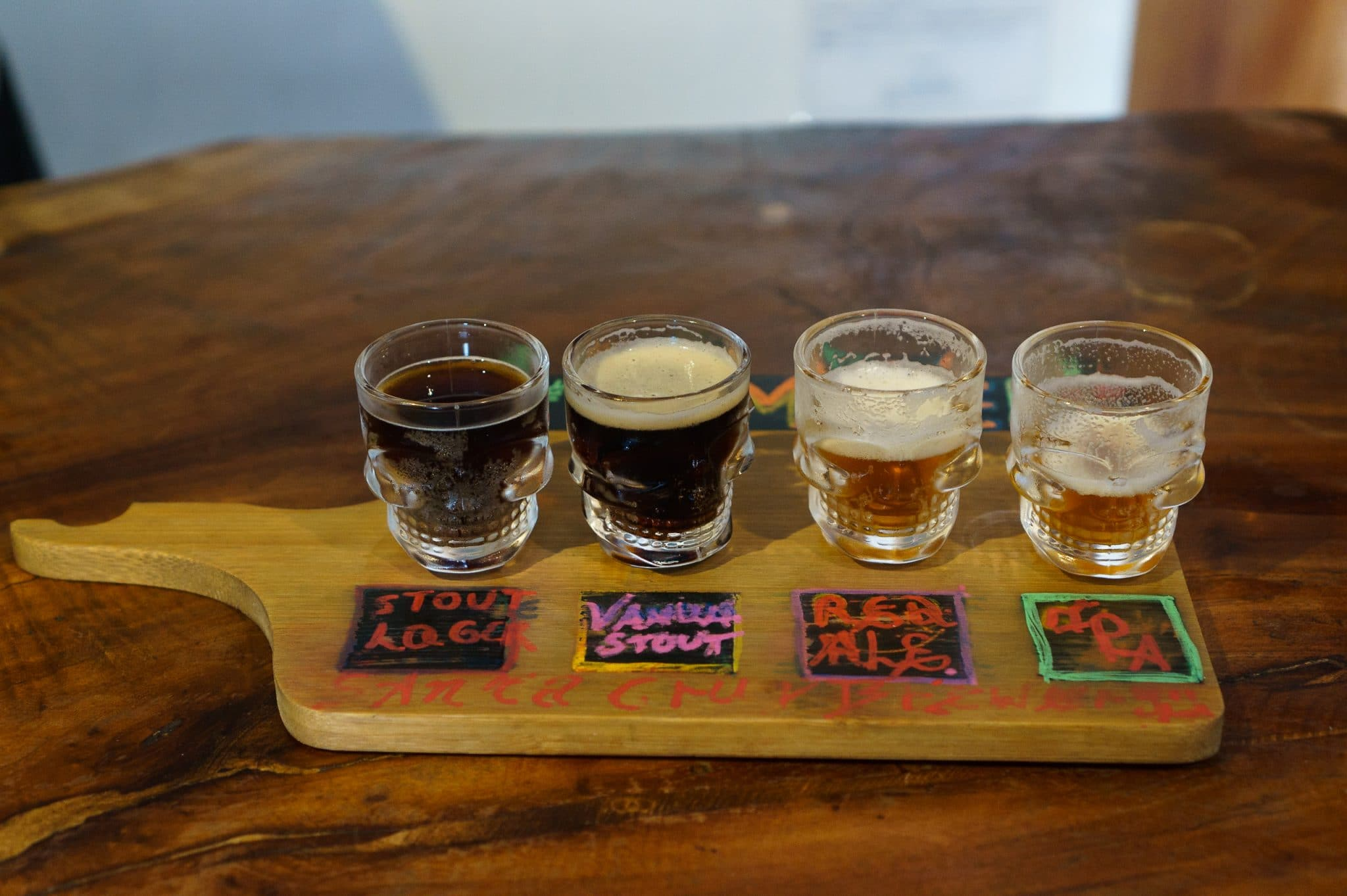 Beer tasting at Santa Cruz Brewery