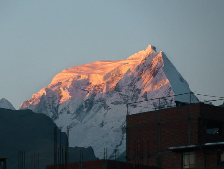 Mountain sunset from huaraz rooftop