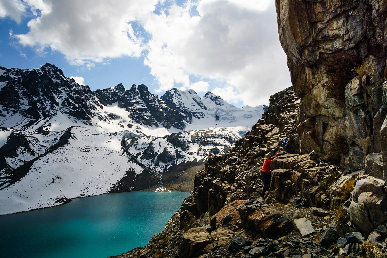 Climbing to Pico Austria in the Cordillera Real