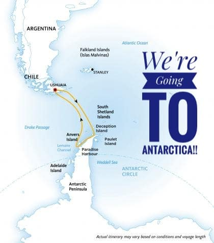 Our Route for travelling to Antarctica