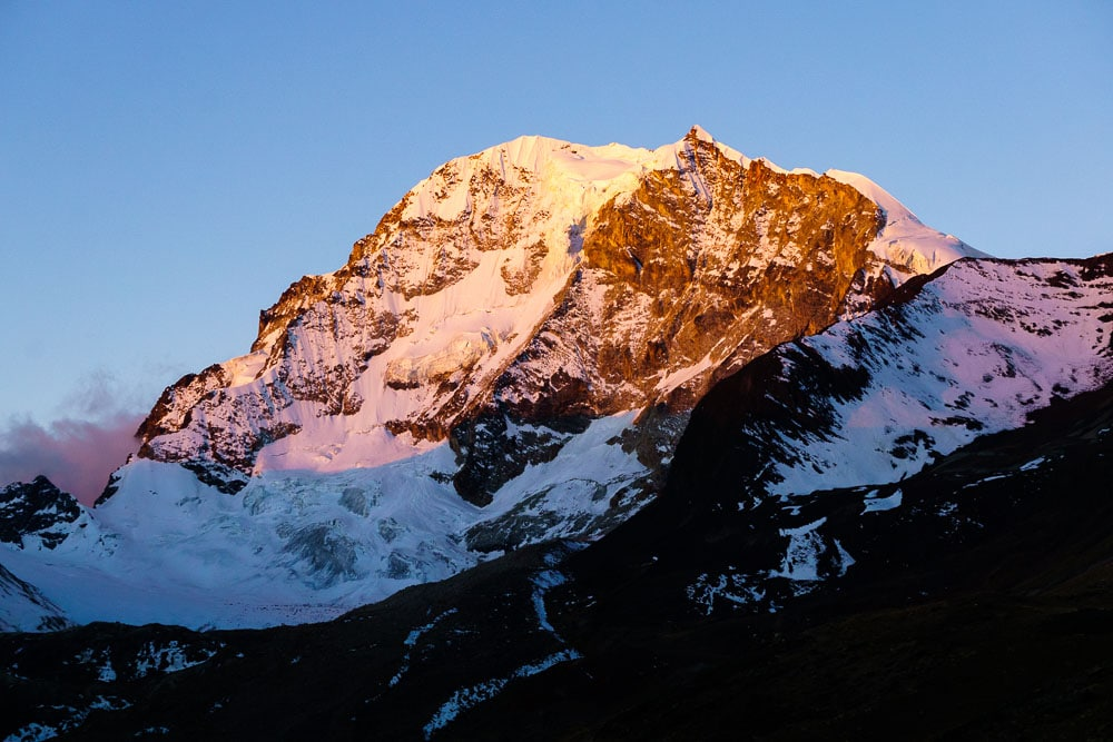 The Sun setting on Huayna Potosi during our trek in the Cordillera Real