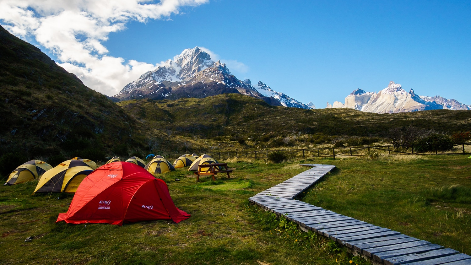 Rental Tents at Paine Grande Campground in Torres Del Paine