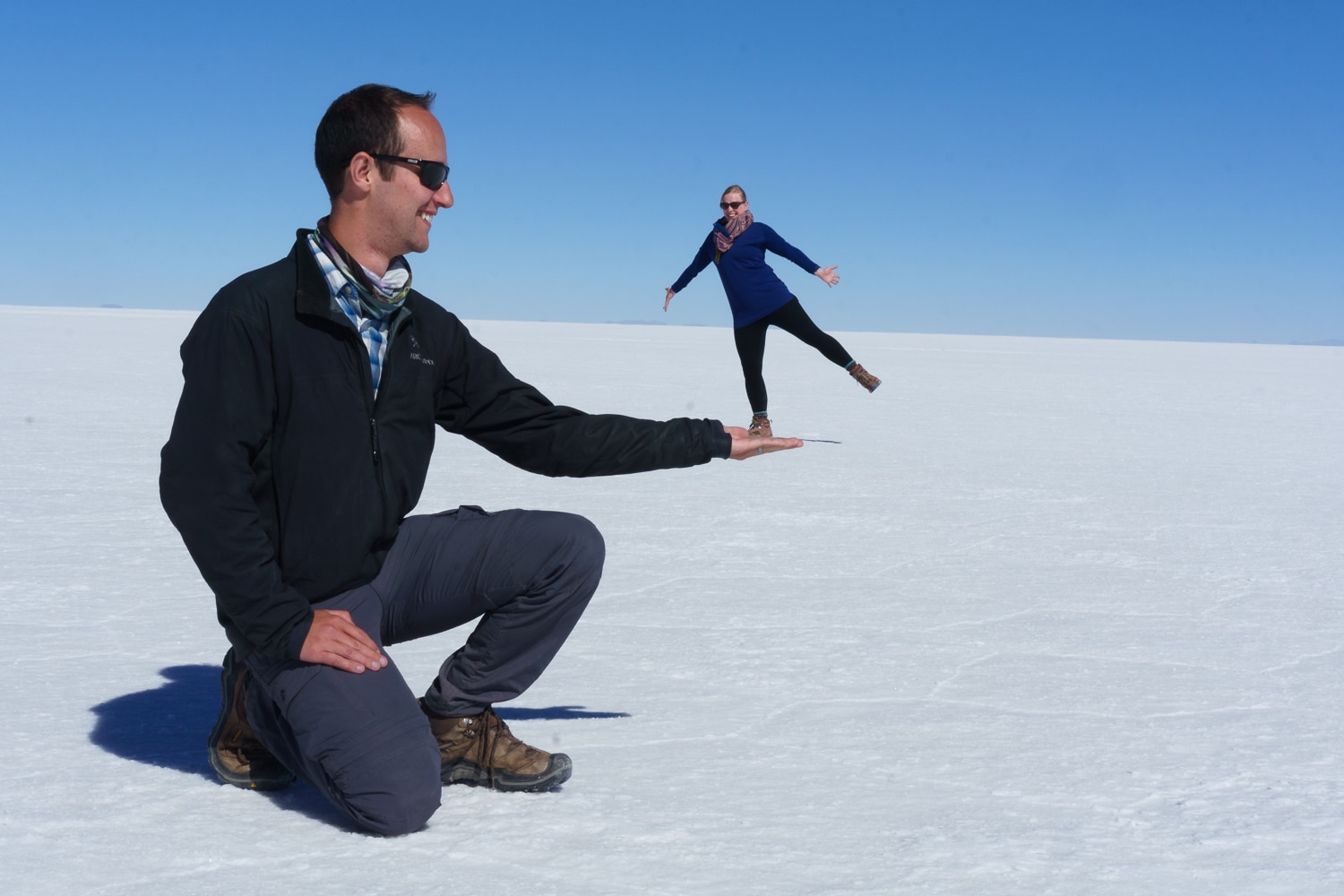 Goofing around at Salar de Uyuni, Bolivia