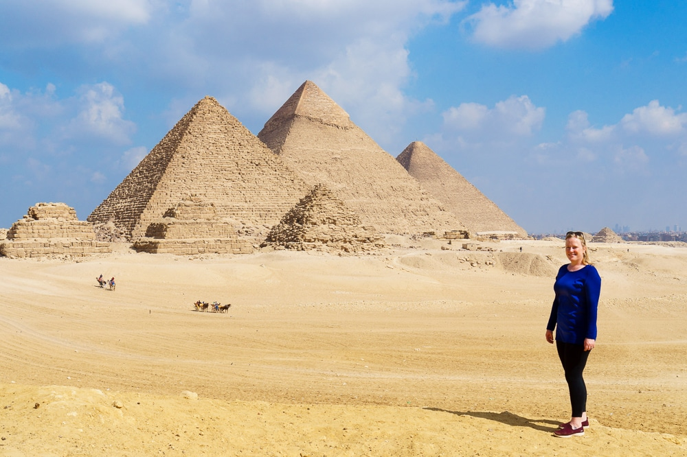 Thea in front of the Great Pyramids of Giza