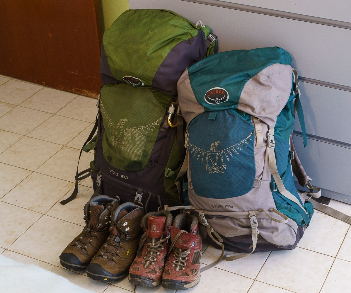 Hiking Boots and our Backpacks