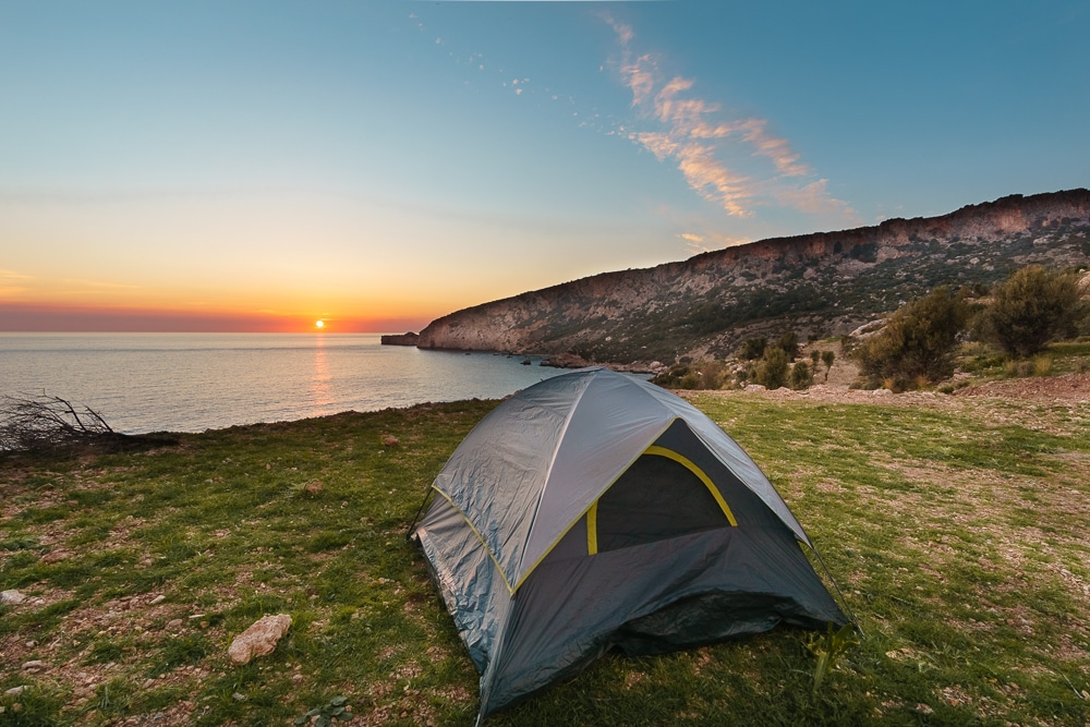 Tent on the Lycian Way at Sunset